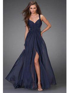 Navy Chiffon Covered Prom Dress