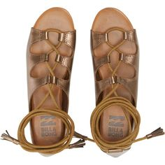 Billabong Women's Break Free Sandals (3.235 RUB) ❤ liked on Polyvore featuring shoes, sandals, antique copper, footwear, gladiator sandals, ankle strap sandals, lace up gladiator sandals, greek sandals and ankle tie gladiator sandals