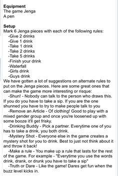 Drunk Jenga Ideas Liquor Drinks Girls Night