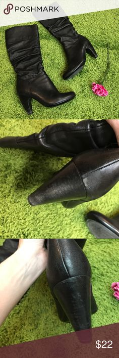 Sofft black leather heeled boots Gorgeous & oh so comfy! Here's your chance to snag a mega deal. Good shape; however notice some wear to mostly back of the right boot. A scuff on the toe. These get an overall 7.5 out of 10. Still beautiful with lots of life to give. No box. Heel is 3.5 inches. Zippers flow smoothly. Bundling is fun; check out my other items! Home is smoke free/ cat friendly. No price talk in comments. No trades or holds. NO SPAM. Sofft Shoes Heeled Boots