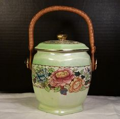 "Biscuit Barrel "" Peony Rose "" by Maling English Newcastle on Tyne 1920s Biscuit Jar Barrel English Country Home Cottage Chic Green Biscuit"