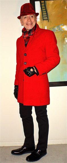 Custom overcoat, black/red accessories, Projek Raw pants, Hush Puppies loafers……