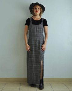 Vintage 90s Linen Blend Overalls Slip Dress // Gingham Plaid