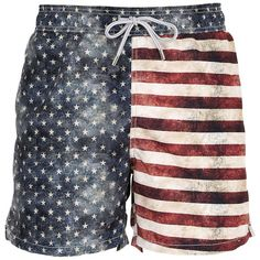 90b32eefb5 Mc2 Saint Barth Men Gustavia American Flag Swim Shorts ($115) ❤ liked on  Polyvore
