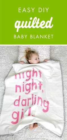 How cute is this Easy DIY Quilted Baby Blanket? Choose which phrase you want to decorate with and let's create this homemade blanket for your little one. Plus, it makes a charming gift idea for a baby shower! Sewing Tutorials, Sewing Crafts, Sewing Projects, Craft Projects, Sewing For Kids, Baby Sewing, Homemade Blankets, Quilted Baby Blanket, Baby Crafts