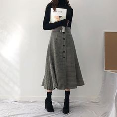 dressy outfit midi check skirt black turtleneck and sock boots dressy outfit midi check skirt black turtleneck and sock boots Korean Outfits, Mode Outfits, 40s Outfits, Cute Casual Outfits, Pretty Outfits, Modest Winter Outfits, Stylish Outfits, Casual Clothes, Fall Outfits
