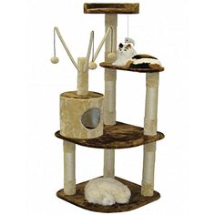 Go Pet Club Beige/Brown Cat Tree House Scratcher 60-inch Condo > Details can be found  : Cat House