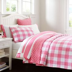 * Bought!!! *     Pottery Barn Teen :: Reversible Kantha Quilt in Bright Pink #pbteen   * for her big girl bed ** pink goes with the pin striping in her room ** totally cute with the multiple textures when paired with the blue/pink/green floral duvet cover (that is exactly the same as the toddler bed one) *
