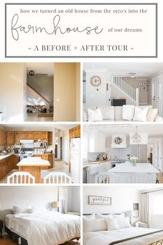 Sharing a before after tour of our entire home after renovating our old house from the to create the farmhouse of our dreams. Sharing a before after tour of our entire home after renovating our old house from the to create the farmhouse of our dreams. Modern Farmhouse Style, Farmhouse Homes, Rustic Farmhouse, Cottage Farmhouse, Farmhouse Kitchens, Coastal Cottage, Farmhouse Design, Farmhouse Renovation, Home Renovation