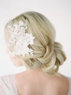 LEILA birdcage veil with lace combs