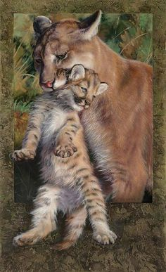 Mother Cougar and kit - Sculpture Art by Val Warner - Nature Art & Wildlife Art - Wildlife Art, radiant, detailed, photorealistic and awesome - Warner Art Beautiful Cats, Animals Beautiful, Cute Animals, Wild Animals Pictures, Animal Pictures, Lynx, Big Cats Art, Lion Painting, Lion Art
