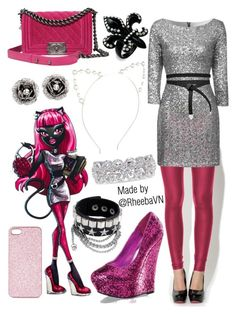 """""""Catty Noir (Monster High)"""" by rheebavn ❤ liked on Polyvore featuring mode, Topshop, Glamorous, Betsey Johnson, Chanel, ASOS, Pleaser Day & Night et Vera Wang"""