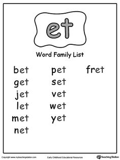 ET Word Family List