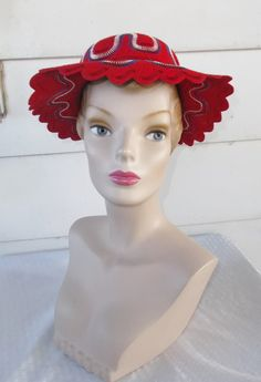 1950s Vintage Red White and Blue Scalloped by MyVintageHatShop