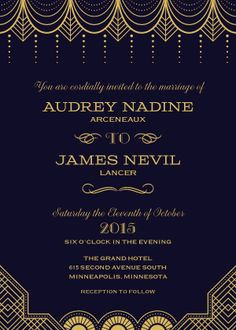 "Great Gatbsy Wedding Theme - Black & Gold Wedding Invitation - ""Vintage Glamour"" - 1920s - Designed by Lauren DiColli Hooke"