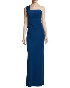 One-Shoulder+Bow+Gown,+Royal+Blue+by+Armani+Collezioni+at+Neiman+Marcus.