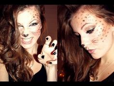 Leopard makeup tutorial. @Sara McMahan Halloween!!
