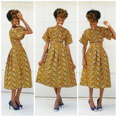 Ankara print crop top + pleated midi skirt. Sew. DIY. Or order from my site JosephAndElynn.com