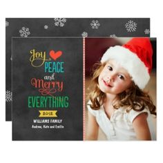 Photo Holiday Greeting Card   Black Chalkboard
