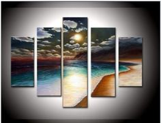 "Hand-painted oil wall art work "" the Yellow Beach "" High Q. Wall Decor Landscape Oil Painting on Canvas (5 PCS)"