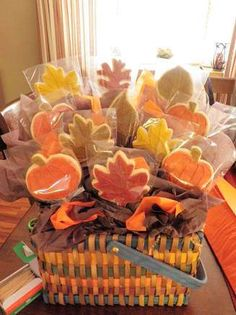Fall cookies in cello. #fallcookies #pumpkincookies http://www.nashvillewraps.com/cellophane-bags/mc-052.html