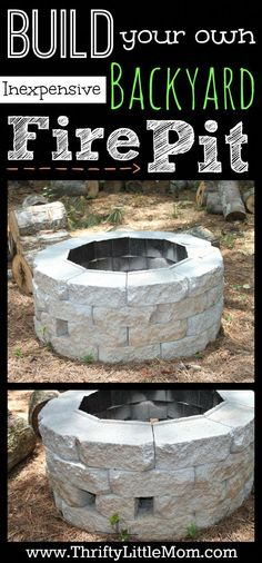 Build Your Own Inexpensive Backyard Fire Pit Tutorial. Step by step instructions for creating your own backyard firepit. Concrete Patios, Diy Fire Pit, Fire Pit Backyard, Fire Pits, Backyard Bbq, Build A Fire Pit, Back Yard Fire Pit, Cheap Fire Pit, Backyard Projects