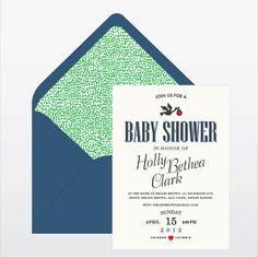 Stork Baby Shower Invitation by beetlebumdesign on Etsy