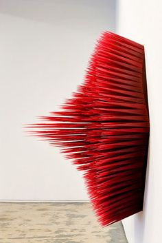 Wall Flower No.2, Side View, Cast Resin with red pigment, 2010 by NORMAN MOONEY