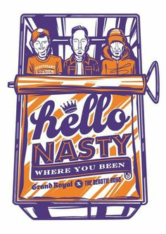 Hello Nasty - The Beastie Boys - Illustration by Travis Price Beastie Boys, Rock Posters, Band Posters, Concert Posters, Music Posters, Retro Posters, Festival Posters, Boy Illustration, Graphic Design Illustration