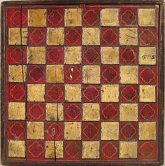 Carved and painted double sided gameboard, 19th c., 15 1/2'' x 15 1/4''.