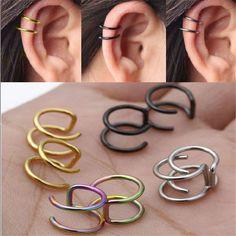 2Pcs Punk Clip-On Earrings Non-Piercing Cartilage Cuff Eardrop Ear Clip Jewelry