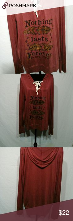NEWTEE SHIRT HOODIE ,by HippieSZ XL. Price is firm Soft ,light weight georgeous hooded tee shirt. Good for football weather.  Bust 22,Length 26 Hippie Chic Tops Tees - Long Sleeve