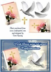 - A card to say God bless you on your Confirmation. A time for a special celerbration. God Bless You, A Blessing, Confirmation, Blessed, Card Making, Greeting Cards, Make It Yourself, Floral, How To Make