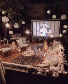 These 4 Living Room Trends for 2019 – Modells. Backyard Movie Theaters, Backyard Movie Nights, Backyard Movie Party, Outdoor Movie Nights, Patio Design, Exterior Design, House Design, Outdoor Spaces, Outdoor Living