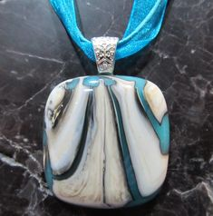 Fused Glass Pendant with ribbon necklace  Sea Shell by KanYoFuse, $24.00
