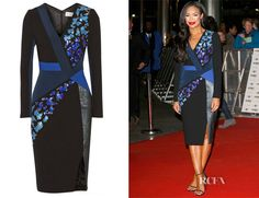 Who: Sarah-Jane Crawford wearing a Peter Pilotto Aro embellished wool and crepe dress Shop: Net-A-Porter.com Where: MOBO Awards, London Credit: Getty