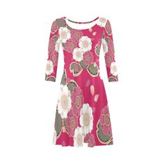 Pink Sakura Japanese Vintage Floral Kimono 3/4 Sleeve Sundress (D23)
