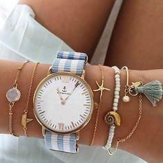 summer details. nautical. bracelets. stripe anchor watch. shells.