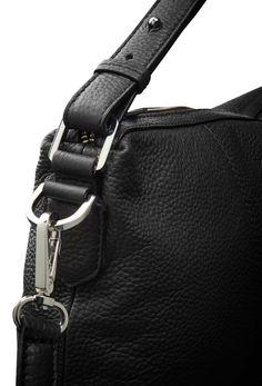 APRICATO bag-Women's hobo bag in medium grained black leather. embossed Tiger of Sweden logo. Interior: one zip pocket and one organizer pocket. Cotton lining. Size: 38 x 30 cm. Tiger Of Sweden, Women's Handbags, Hobo Bag, Shoulder Strap, Black Leather, Handle, Closure, Pocket, Zip