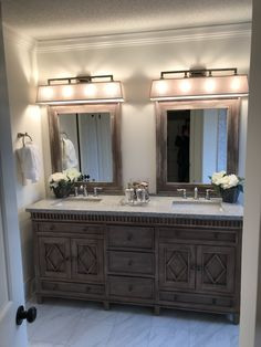 Rustic Wood, White Sink, Master Bathroom Design, Restroom Design, Bathrooms Remodel, Remodel, Bathroom Mirror, Home Decor, Guest Bath