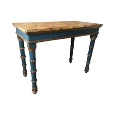 Painted and Giltwood Console with Faux Marble Top Painted Table Tops, Hand Painted Chairs, Metallic Painted Furniture, Annie Sloan Painted Furniture, Metal Barn Homes, Italian Table, Recycled Furniture, Furniture Restoration, Furniture Makeover