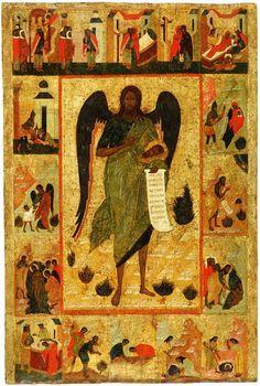 St John the Baptist—Angel of the Wilderness with Scenes from His Life Orthodox Catholic, Eritrean, Byzantine Art, John The Baptist, Religious Icons, Orthodox Icons, Cristiano, Ikon, Saints