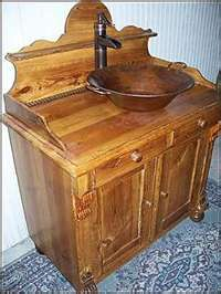 Antique Bathroom Vanity: Primitive Cabinet with Vessel Copper Sink and ...