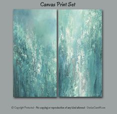 Abstract painting by Denise Cunniff in muted tones of gray, teal and turquoise green. This diptych is suitable for home or office decor. For more info: https://www.etsy.com/listing/486209977