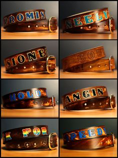 Custom Brown Leather Name Belt, Personalized With Anything. $60.00, via Etsy.