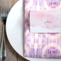 Pink Watercolor Place Card, Set of 8