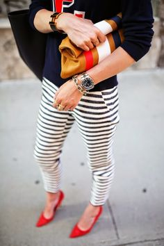 stripe pants // how to wear red, white and blue // stripe pant outfit ideas