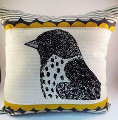 Sparrow+Bird+Screen+Print+Decorative+Pillow+by+ecarlateboutique,+$42.00