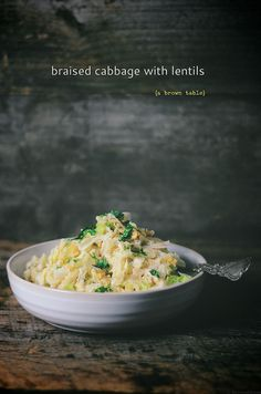 braised cabbage with red lentils by abrowntable