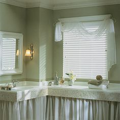 Graber Faux Wood Shutters -- Curated by: EuroTek Blind Factory Wood Shutters, Bathroom Window Treatments, Bathroom Windows, Sink Skirt, Custom Blinds, Faux Wood Blinds, Other Rooms, Valance Curtains